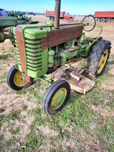 "1948 JD ""M"" gas tractor, wide front, 2pt hitch, runs, Ser #15038, Woods L59 belly mower"