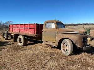 1948 Ford F6 gas truck, 4 speed, flathead 6 engine, 13 1/2' bed, single cylinder hoist