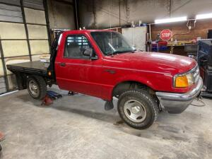 1997 Ford Ranger pickup, flatbed, headache rack, 5 speed manual, rebuilt salvage title, runs