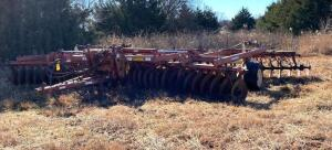 "Krause 24' double offset folding disk, Model 4906A, 23"" front & 24"" rear blades, partial harrow"