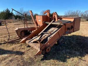 AC All crop combine, Model 60, AC gas engine, engine stuck, 5' platform, shedded