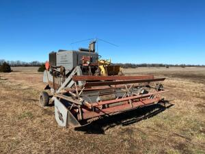 Gleaner Model A Gas combine, 14' header, no cab, 13-26 tires, Ser #A20432, motor condition unknown