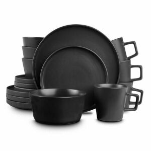 2 sets of 16-Piece Modern Black Matte Stoneware Dinnerware Set (total Service for 8)  by STONE LAIN