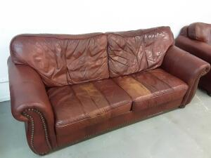 Leather Couch 88in x 38in, worn spots