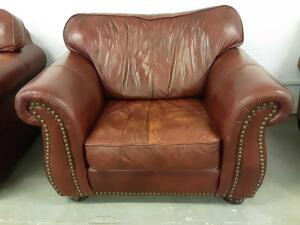 Oversized Stuffed Leather Chair 48.5in x 38in