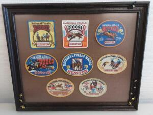 8 NFR Hesston Framed Patches- 1975-1982