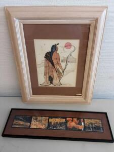 Native American water color - 1988 Sandra Turner Peters and Framed Fall Photos