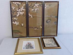 3pc Antique Framed Quail tree, Framed sketch & tulip watercolor
