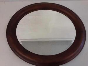 Oval wood framed mirror 30in x 26in