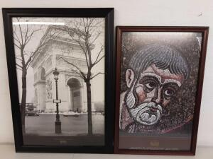 2 Framed Pictures- Paris - Place Charles de Gaulle and Vatican Treasures