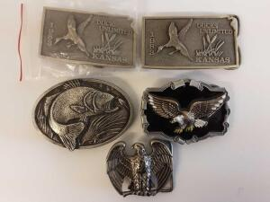 Belt buckles- (2) 1983 Ducks Unlimited Limited Edition no. 5, 288 of 1000; 2 eagles, 1 bass