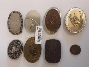 7 Cowboy Belt Buckles and 1 Souvenir Coin