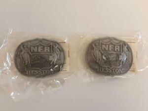 Hesston NFR 25th Anniversary (1983) Belt Buckles New in Packages