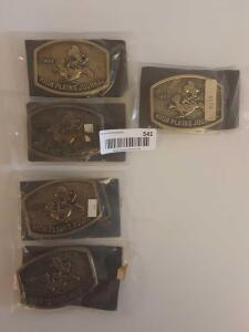 5 High Plains Journal Unopened Belt Buckles 1984, 1985, 1986, 1988 and 1989