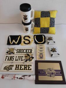 Purple Pride Plaque; Shockers travel mugs, sign, poster, coasters, coozies, pot holders