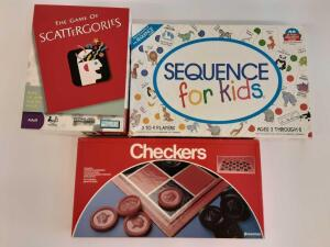GAMES- Scattergories, Checkers, Sequence for kids