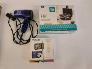 Polaroid 8.0 Megapixel Digital Camera, Conair Hair Dryer and Cash Box