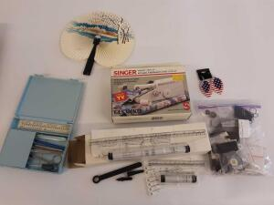 Singer Handy Stitch, Bag of Thread, Buttons, Earrings, Sewing Kit, Rolling Ruler, Knitting Needles