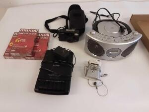 Emerson Radio, Pentax Camera, VHS Recording Tapes, Tape Recorder and Digital Radio