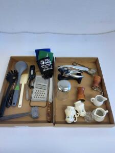 Kitchen items, salt and pepper grinder and shaker, wine opener