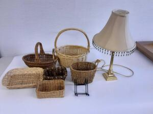 Lamp and wicker baskets and plate holders
