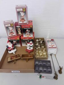 Christmas Decor- Stocking Holders, Napkin Rings, Candle Snuffer, Hallmark Ornament