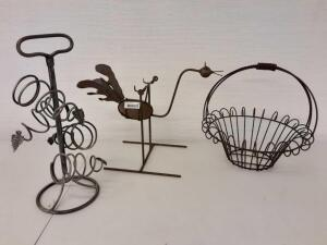 Metal Rocking Bird, Metal Decorative basket, Wine Holder