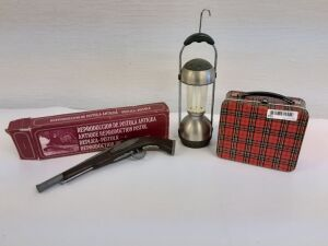 Antique Reproduction Non-functional Pistol, Lunch Box, Battery Powered Lantern and squeegee